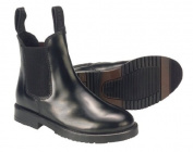 Rhinegold Childs Classic Leather Pull On Jodhpur Boots In Black, Size