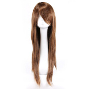 MapofBeauty Special Natural Long Straight Wigs Diagonal Bangs Wigs Light Brown Nice Ladies Wigs