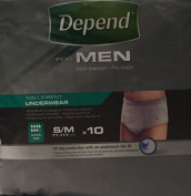 SIX PACKS of Depend For Men Absorbent Underwear Super S/M 10 Pants