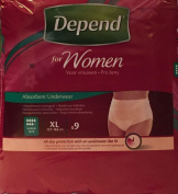 SIX PACKS of Depend For Women Absorbent Underwear Super XL 9 Pants