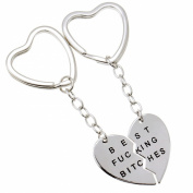 "Mysticism Two Half Heart Silver Tone Pendant With ""BEST FUCKING BITCHES"" Engraved Fashion Lovely Keychain"