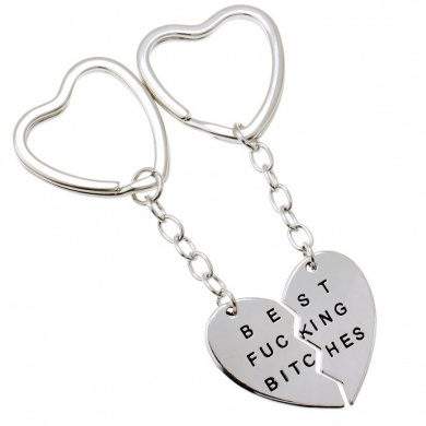 """Mysticism Two Half Heart Silver Tone Pendant With """"BEST FUCKING BITCHES"""" Engraved Fashion Lovely Keychain"""