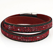 Wrap Bracelet Slake Double Tour Leather Suede Zirconium and crystals Magnetic closure red