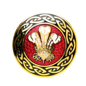 Round Gold Tone Red Enamel Welsh Plume Feather Brooch
