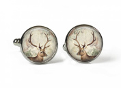 STAG - Glass Picture Cufflinks - Silver Plated