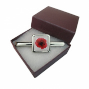 Handmade Red Poppy Design - Silver Plated Mens Square Tie Pin Slide - Gift Boxed