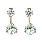 HOT. Style - Rose Gold Plated Front Back Crystal Stud Earrings