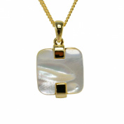 Modern Square Jewelery set including the necklace and matching earrings, White Mother of Pearl