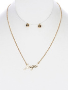 """beyoutifulthings Women's Necklace Stainless Steel Gold Plated Pendant """"Angel"""" Length 406 CM 1 Pair of Earrings Gold Plated Ball 2 """"Set"""