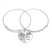"Mysticism Two Half Heart Cubic Zircon Silver Tone Charm ""Best Fucking Bitches"" Adjustable Cuff Bracelets Bangle"