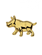 Gold Plated Cabouchon Rhino Pin Brooch