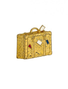 Gold Plated White Red Blue Enamel Cabouchon Suitcase Brooch