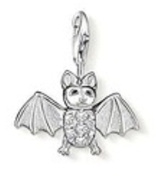 LOVELY LITTLE SILVER AND RHINESTONE BAT CLIP ON CHARM - 3D - 925 SILVER PLATE ...