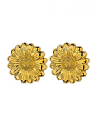 Gold Plated Cabouchon Flower Clip-on Earrings