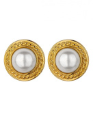 Gold Plated Cabouchon and Pearl Earrings
