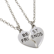 Mysticism Silver Tone Two Half Heart With Best Friends BFF Pendant Necklace 2 Pcs