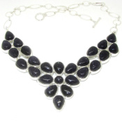 Statement Necklace-Silver with Gold Sand Stone My Glitter World