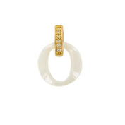 Jouailla Pendant Gold-Plated and Ceramic-White