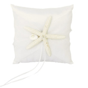 Gleader Wedding Ring Pillow Cushion Bearer Starfish Decorated 20 x 20cm---Ivory