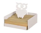 Arti & Mestieri Serviette / Napkin Holder with Owl Design, White