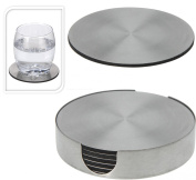 Set of 6 Round Stainless Steel Coaster Coasters with Holder Protecting Table