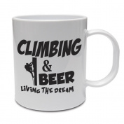 CLIMBING & BEER LIVING THE DREAM - Climber / Fun / Gift Idea Ceramic Mug