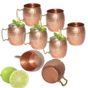 Prisha India Moscow Mule Solid Copper Mug 550 ML / 18 oz - Set of 8 - 100% Pure Copper Hammered Best Quality Lacquered Finish