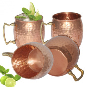 Prisha India Moscow Mule Solid Copper Mug 550 ML / 18 oz - Set of 4 - 100% Pure Copper Hammered Best Quality Lacquered Finish