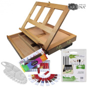 Artina Table Easel Colmar Oil Painting Box easel Art Set Tabletop Workstation with Oil paints Mixing Pallet & Brushes