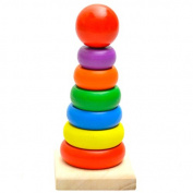 seguryy 15.5cm x 7.5cm x 7cm Rainbow Tower Wooden Bricks Pro Puzzle Building & Construction Toys for 0-2 Years Baby