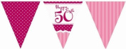 5 X Perfectly Pink Party Happy 50th Birthday Paper Flag Bunting - 3.7m