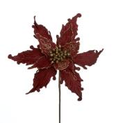 Poinsettia Pick Burgundy Velvet w Gold Glittered Accents B4031 Christmas Flowers Floral by Kurt Adler