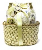 Opaline Gardenia Bath Spa Gift Set - Shower Gel, Bubble Bath, Soap Flower, Bath Salts, Brush, and a Puff in a Woven Gift Basket