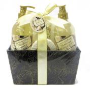 Opaline Gardenia Bath Spa Gift Set - Shower Gel, Body Lotion, Bubble Bath, Soap and Sponge in a Metal Gift Basket