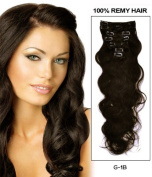 36cm - 70cm Off Black 7 Pieces Body Wave Clip in Indian Remy Human Hair Extension E142801bw-g-1b