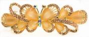 Beautiful Butterfly Design Austrian Rhinestone Crystal Hair Barrette - Gold Colour