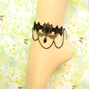 Lvxuan Gothic Rococo Palace Retro Black Lace Anklets Vintage Women's Tassel Foot Chain Anklet with Black Pearl Pendant Mental Crown