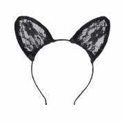 Black Lace Cat Ears Hairband Cosplay Fancy Dress Costume Masquerade Headband