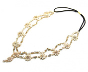 Wiipu 2 Row Metal Flower Headband Bridal Wedding Headchain