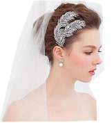 Wiipu Silver Tone Leaf Hair Comb Rhinestone Bridal Wedding Headpiece