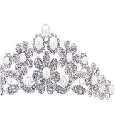 Wiipu Bling Rhinestone Pearl Flower Tiara Crown Bridal Headband Wedding