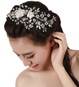 Wiipu Flower Combs Clear Crystal for Wedding Comb Bridal Comb Hair Jewellery
