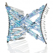 HairZing Double Cross Hair Comb, Hair Accessory Perfect for Easy Ponytails, UpDos and Twists, Light Blue, Snug