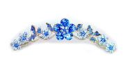 Faship Sapphire Colour Blue Hair Comb Crystal Floral