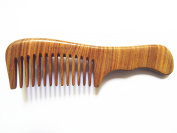 Myhsmooth GS-2W-MT Handmade Natural Green Sandalwood No Static Comb with Aromatic Scent for Detangling Curly Hair and Gift -Made of a Whole Piece of Green Sandalwood, Not Mosaic