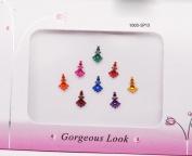 8 Pretty Medium Size Colourful Bindi's - Beauty Face Makeup