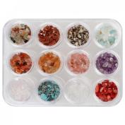 BMC 12 Different Natural Semi Precious Pebble Stones DIY Nail Art 3D Studs