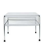 Innit Designs Adam Ottoman, White Weave on Chrome Frame