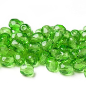 60 pcs 4 mm Czech Fire Polished Faceted Round Glass Bead, Green