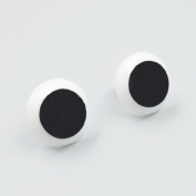 Bluemoona 100 Pcs Toy Rubber Eyes White black plastic safety making Puppets Dolls Crafts 20MM